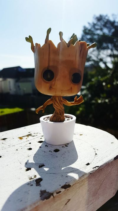 Baby Groot Outdoors Tree Blur GUARDIANSOFTHEGALAXY White Blue Sky Green