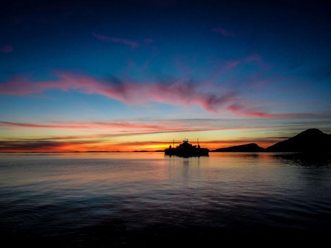 Beautiful Blue Boat Horizon Majestic Mountain Norway Sunset Water