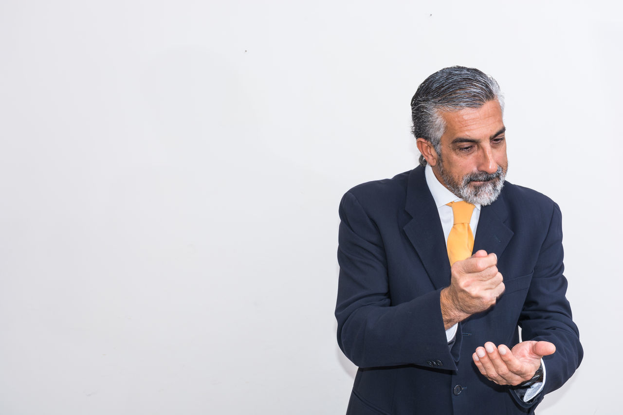 Beard Business Business Person Businessman Copy Space Corporate Business Gesturing Gray Hair Human Hand Manager Mature Adult Mature Men Men Occupation One Man Only One Mature Man Only One Person Only Men Portrait Standing Studio Shot Suit Well-dressed White Background Working