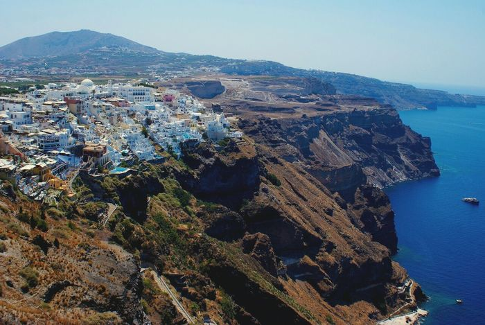 Santorini Island Ocean Sea Summer Sun Water Cityscapes Landscape Urban Landscapes With WhiteWall Blue Wave