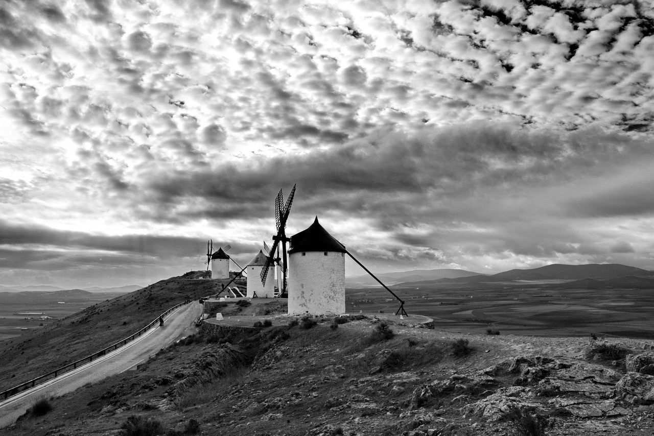Architecture Black And White Blackandwhite Photography Cloud - Sky Clouds And Sky Cloudy La Mancha Nature Photography Outdoors Power In Nature Showcase: January Sky Sky And Clouds SPAIN Spain♥ Windmill