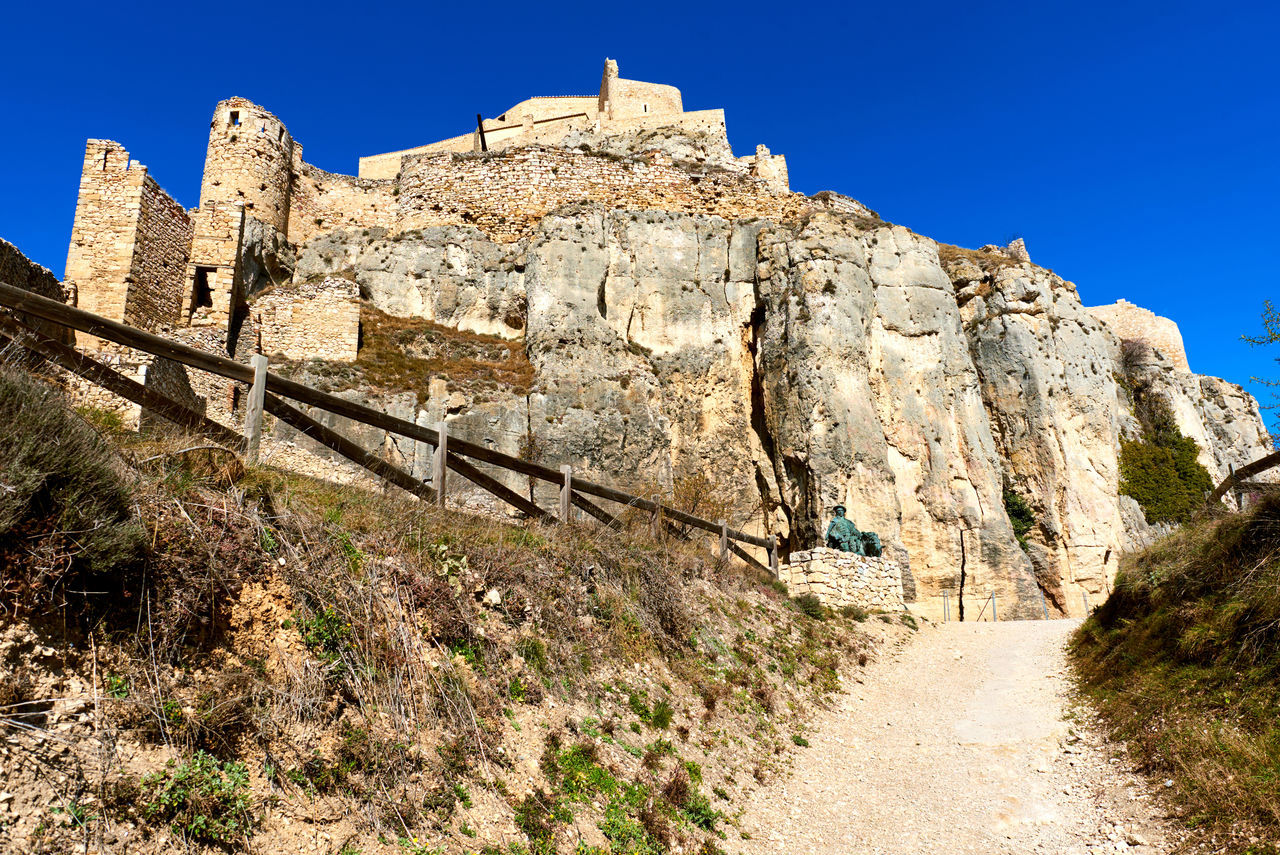 Castle of Morella, province of Castellon, Valencian Community, Spain. Morella Castle was declared a monument of artistic and historical importance. Ancient Architecture Arabic Architecture Blue Sky Castellón Castle Defensive Europe Fortification Gothic Architecture Heritage Building History Landmark Maestrazgo Medieval Architecture Monument Morella Nobody Outdoors Ruined Castle Skyline SPAIN Stone Sunny Day Travel Destinations