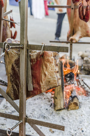 Meat in a barbecue in a medieval party. Catalonia Grilling Holiday Lamb Meal Renaissance Tortosa Animals Barbecue Caw Ember Grilled Meat Medieval Party