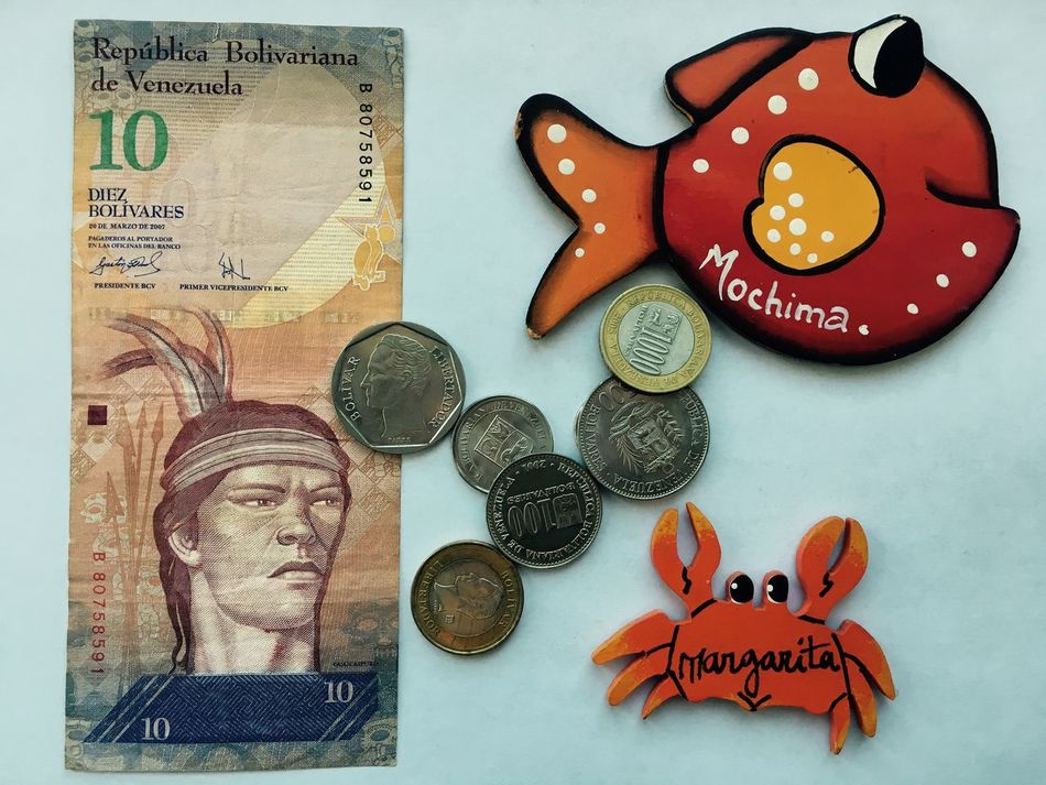 Banknote Bolivar Bolivares Coins Currency Isla Margarita Magnets Margarita Margarita Island Margarita, Venezuela Mochima Money No People Souvenir Travel Photography Vacation Venezuela Venezuela Money