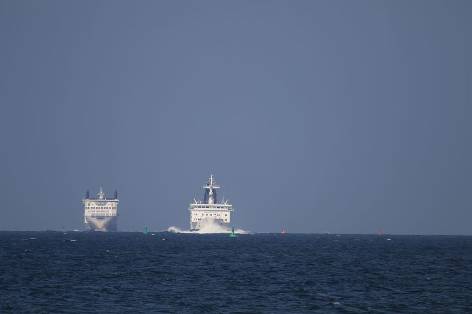Clear Sky Day Nature Nautical Vessel No People Outdoors Sea Ship Side By Side Sky Transportation Two Ships On The Horizon Water