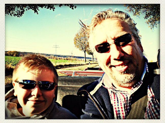 Cruising Indian Summer Triumph Spitfire Father & Son