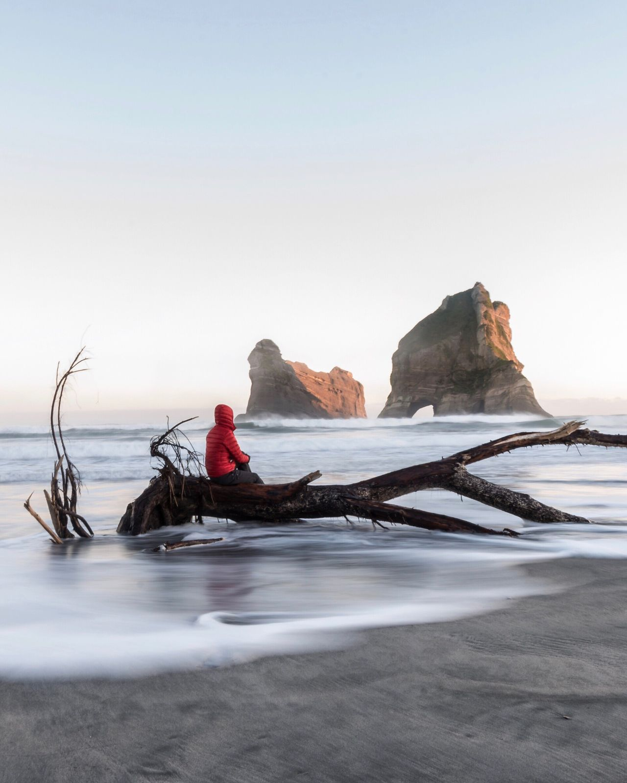 Early morning at Wharariki Beach. What's just out of shot is the rogue wave that got me! Sea Water Beauty In Nature Outdoors Beach Horizon Over Water Tranquility Tranquil Scene Tadaa Community Finding New Frontiers Exceptional Photographs EyeEm Masterclass For My Friends That Connect Amazing_captures Nature_collection New Zealand Scenery Ladyphotographerofthemonth One Woman Only Tranquility Nature On Your Doorstep Real People Sitting Travel Destinations Here Belongs To Me Eye4photography