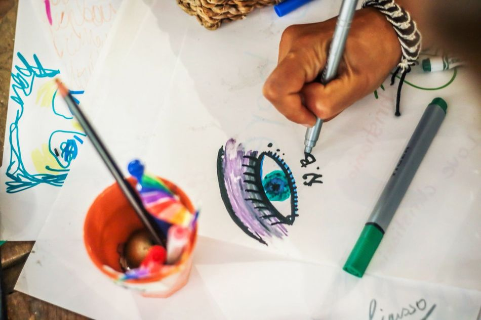 Art And Craft Creativity Artist Paintbrush Human Hand Drawing - Activity Multi Colored Craft Art And Craft Equipment Paint Human Body Part Indoors  Painter - Artist Pencil Palette Paper Real People Table Drawing Education