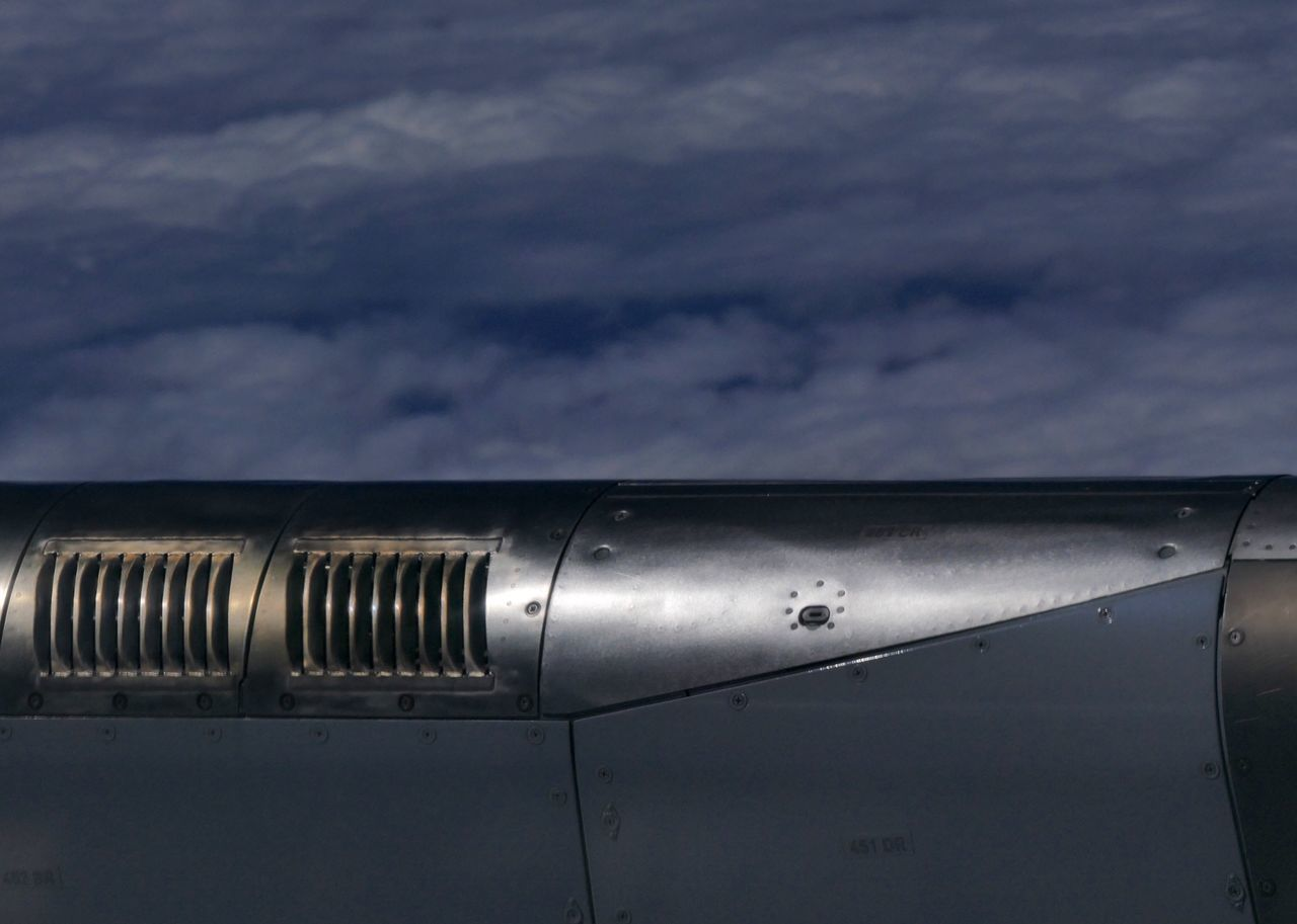 Jet Engine Bleed Air Duct In Flight Engineering Airbus A330 Clouds And Sky Detail Aerial Shot Aircraft