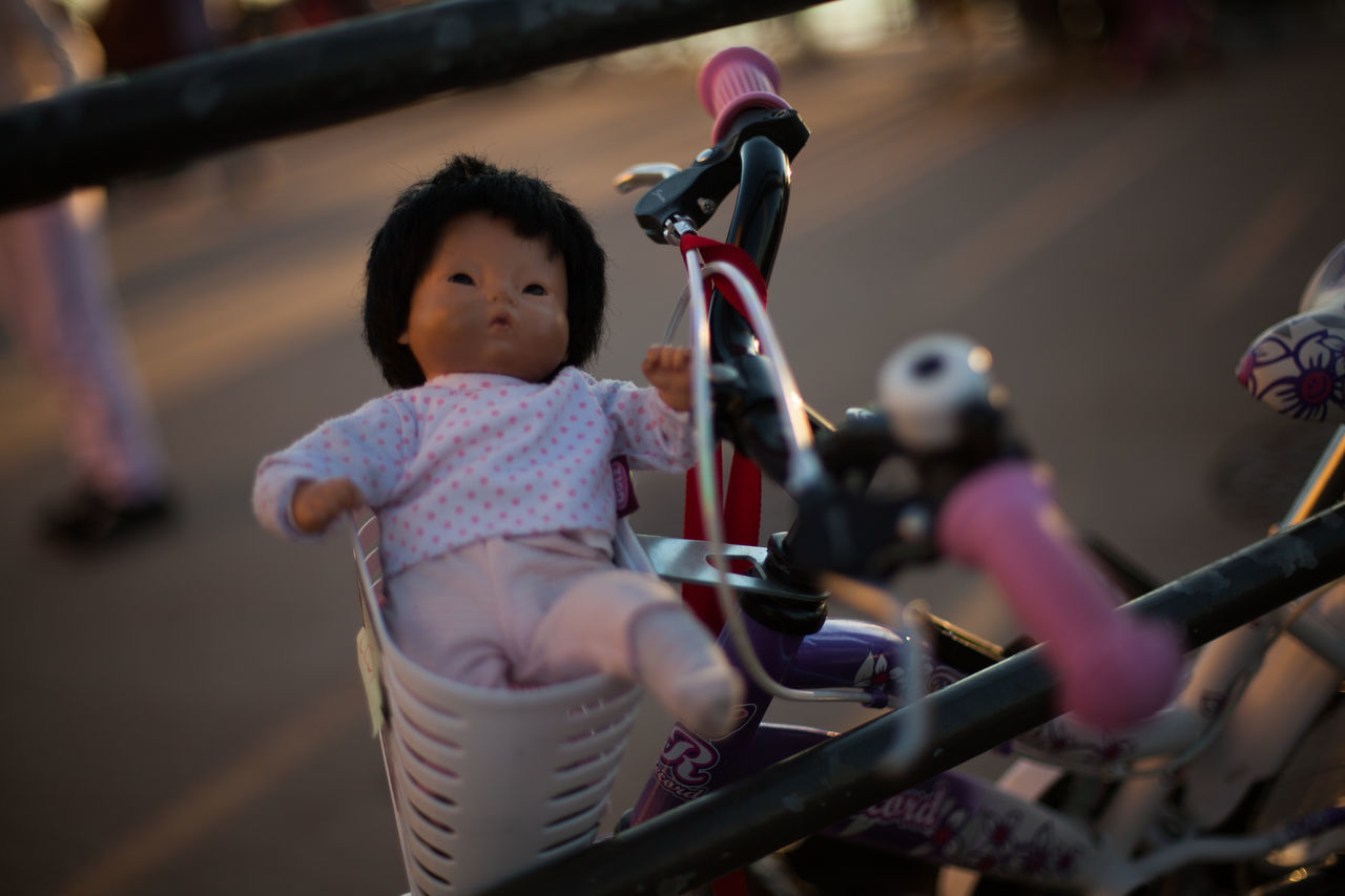 A doll in the basket Baby Babyhood Bycicle Childhood Day Dog Dolls Game One Person Outdoors People Play Playtime Real People