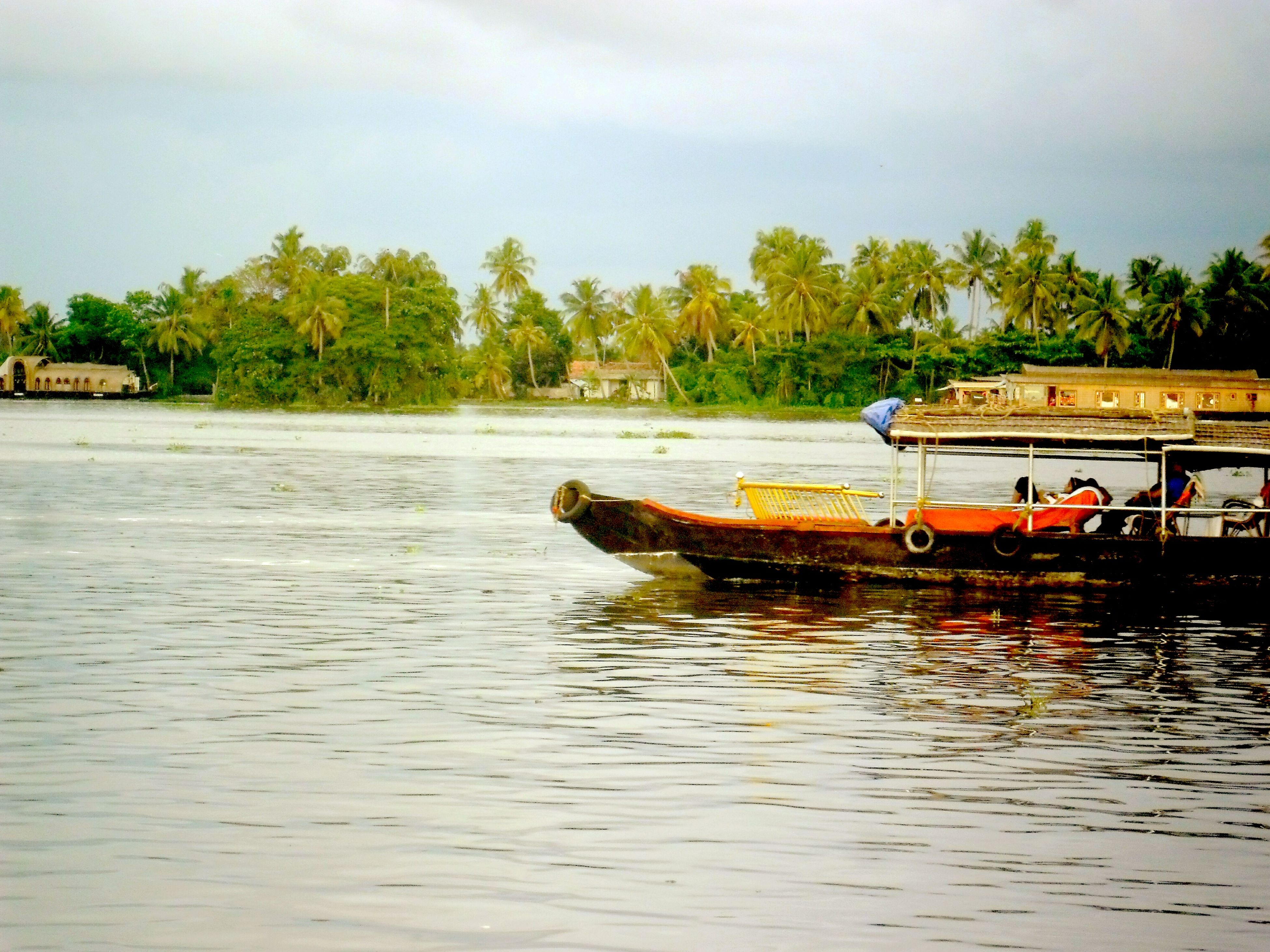 nautical vessel, transportation, mode of transport, water, river, sky, outdoors, tree, day, nature, no people, pedal boat