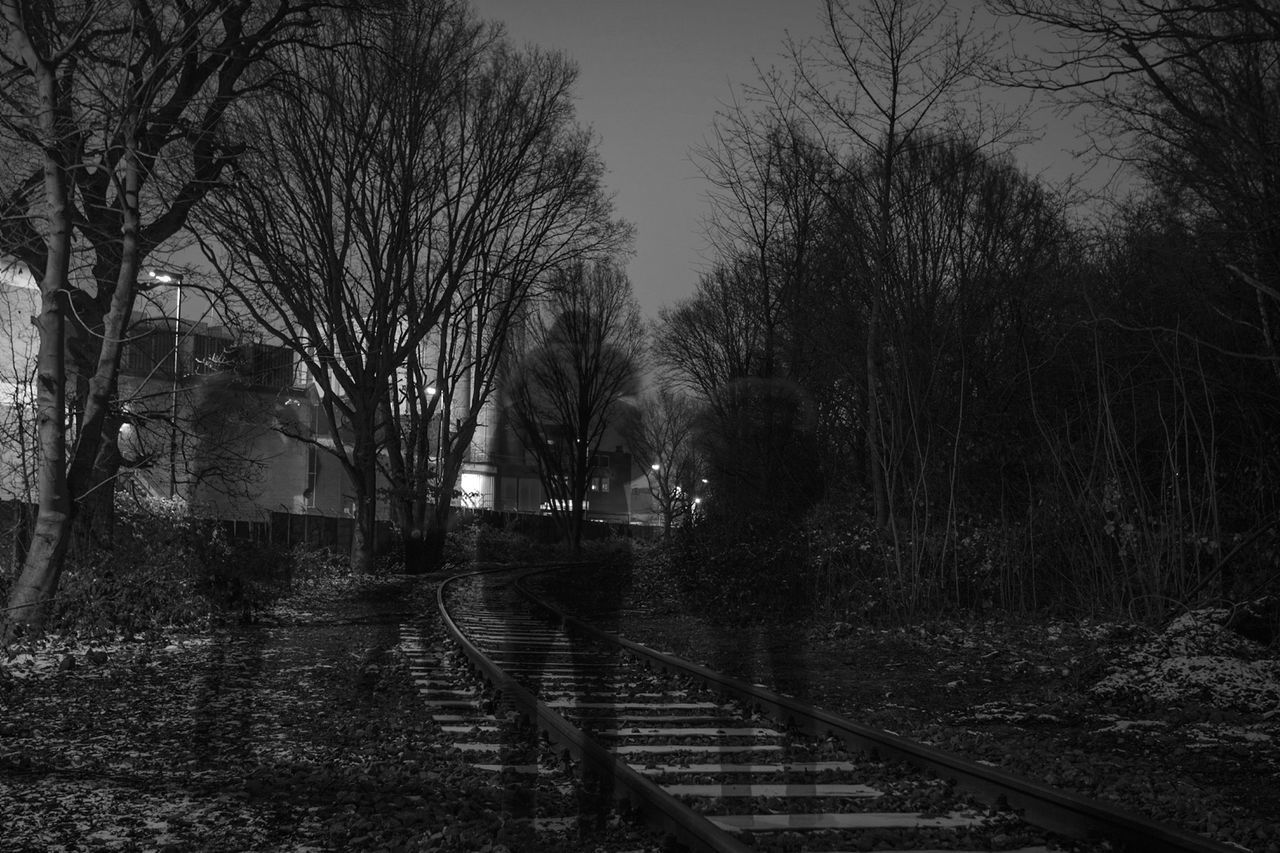 ~ 🚶⁴ ✴ ~ Outdoors Long Exposure Night Nightphotography Light And Shadow Monochrome Getting Inspired Canonphotography Black & White Nature Tree Sky Silhouette Silhouettes Ghosts People Watching People And Places Night Photography Industry Road Waiting For A Train Duplicate Connection Lines And Shapes Travel Destinations