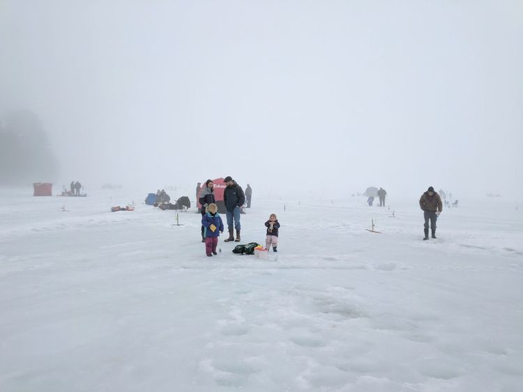 Winter Snow Cold Temperature Adventure People Outdoors Landscape Day Ice Fishing Ice Winter Sport Beauty In Nature Foggy Day