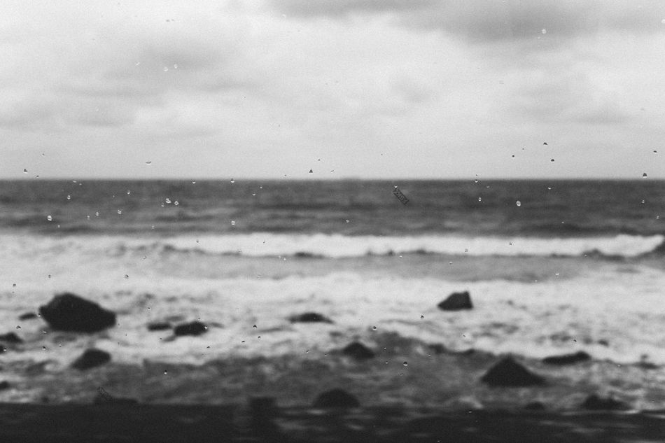 B&W Beach Beauty In Nature Close-up Cloud - Sky Day Drop Horizon Over Water Nature No People Outdoors Scenics Sea Sky Tranquil Scene Water Wave Wet