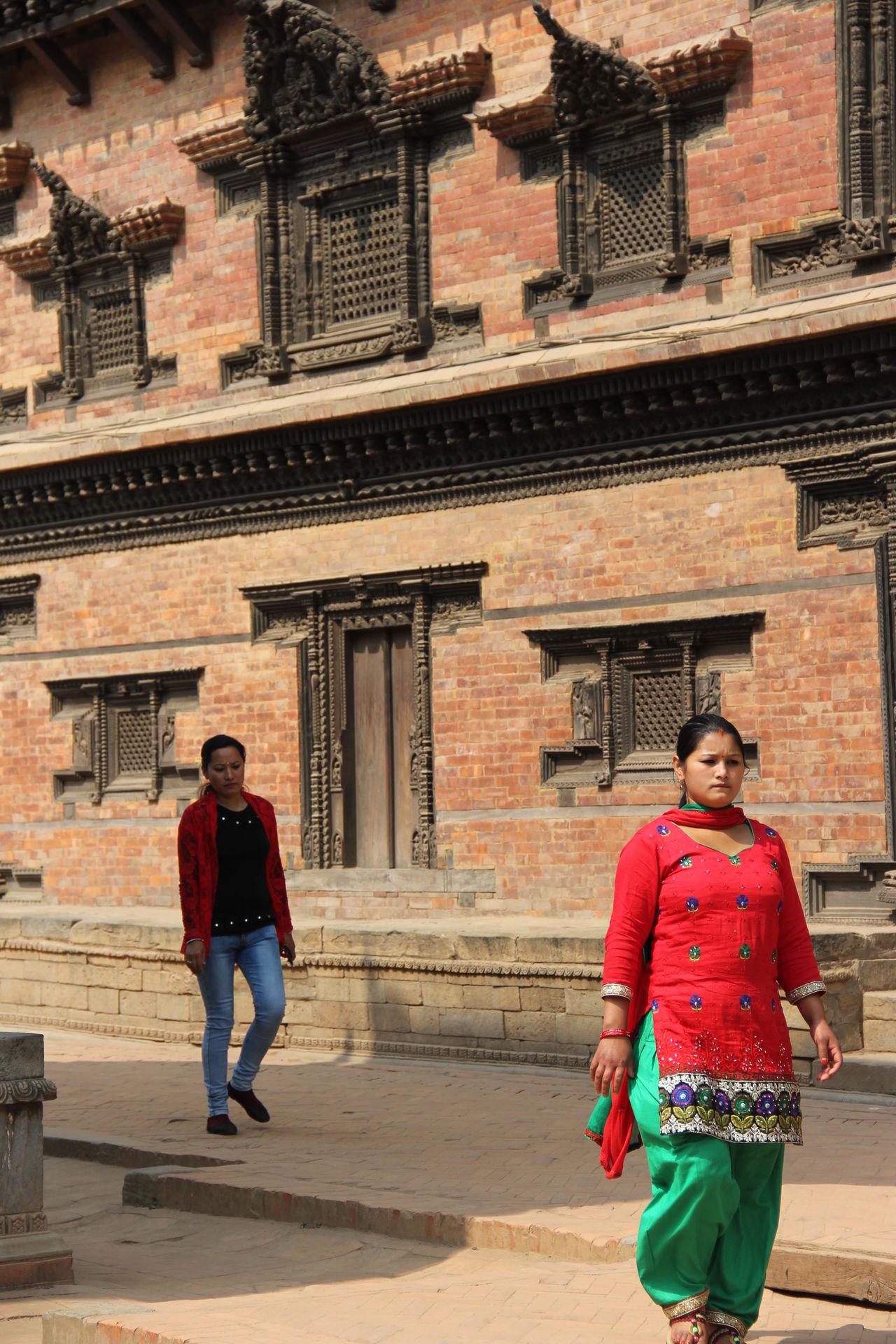 Two People Traditional Clothing Nepalipeople😊 Street Walking Women Beautiful Woman nepal travel