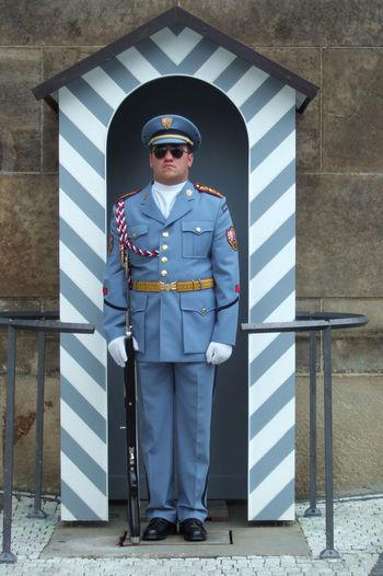 security guard at the Prague Castle Castle Czech Republic Day Guard Guard Box Guardian Guardsman Hradní Stráž Hradčany Prag Prague Prague Castle Prague Czech Republic Prague♡ Security Guard Soldier Standing Uniform