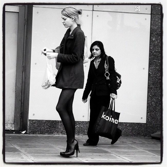 We're Not Always Happy To Find Out (We are All Variations of One Another) Casual Clothing Togetherness Street Well-dressed London Film Noir Portrait Of A Woman Black & White Up Close Street Photography Capture The Moment