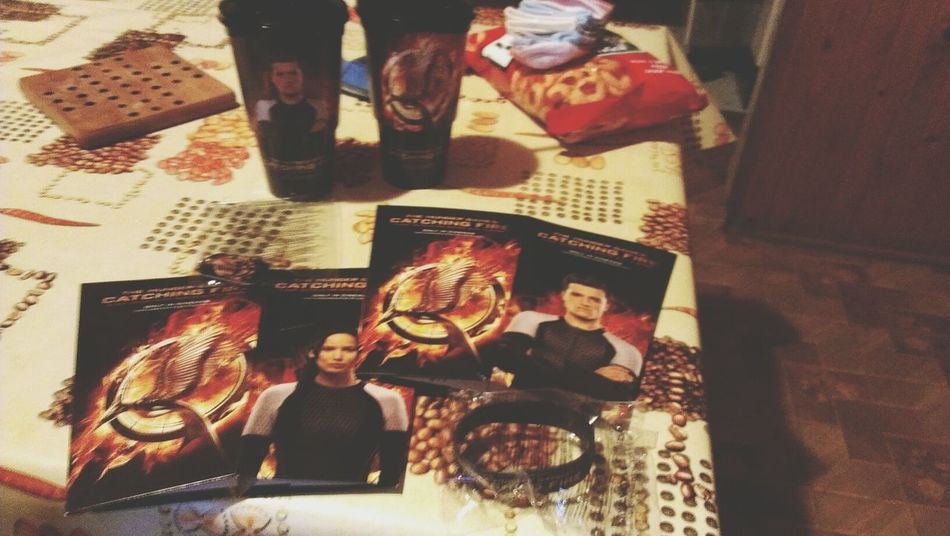 my catching fire merchandise from the cinema :) Catching Fire Cinestar