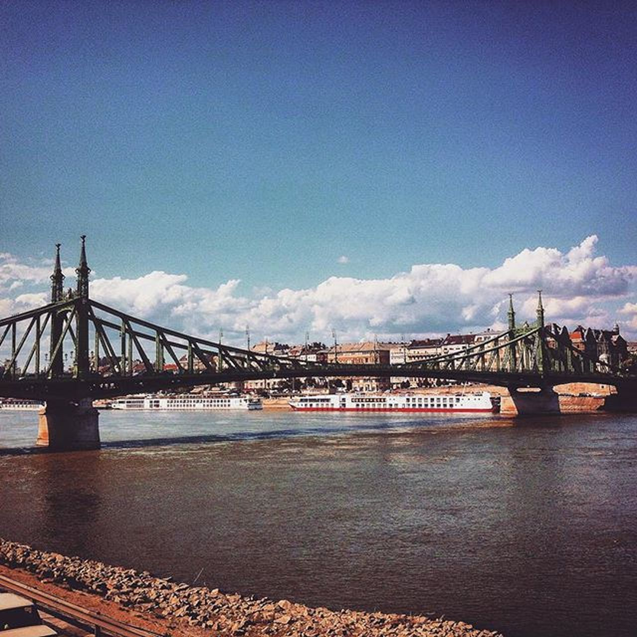 Thereasonwhyilovebudapestsomuch Sky Skyporn Cloud cloudporn blue bridge bridgeofliberty danube dunapart buda Budapest Hungary river waves summer mik mik_summer magyarig magyarorszag loves_hungary ihu ilovebp insta_bp instahun ikozosseg szabadsaghid onlyiphone landscape