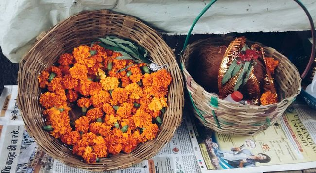 Garland Flowers Temple Street Pooja Indian Culture  Bamboo Basket
