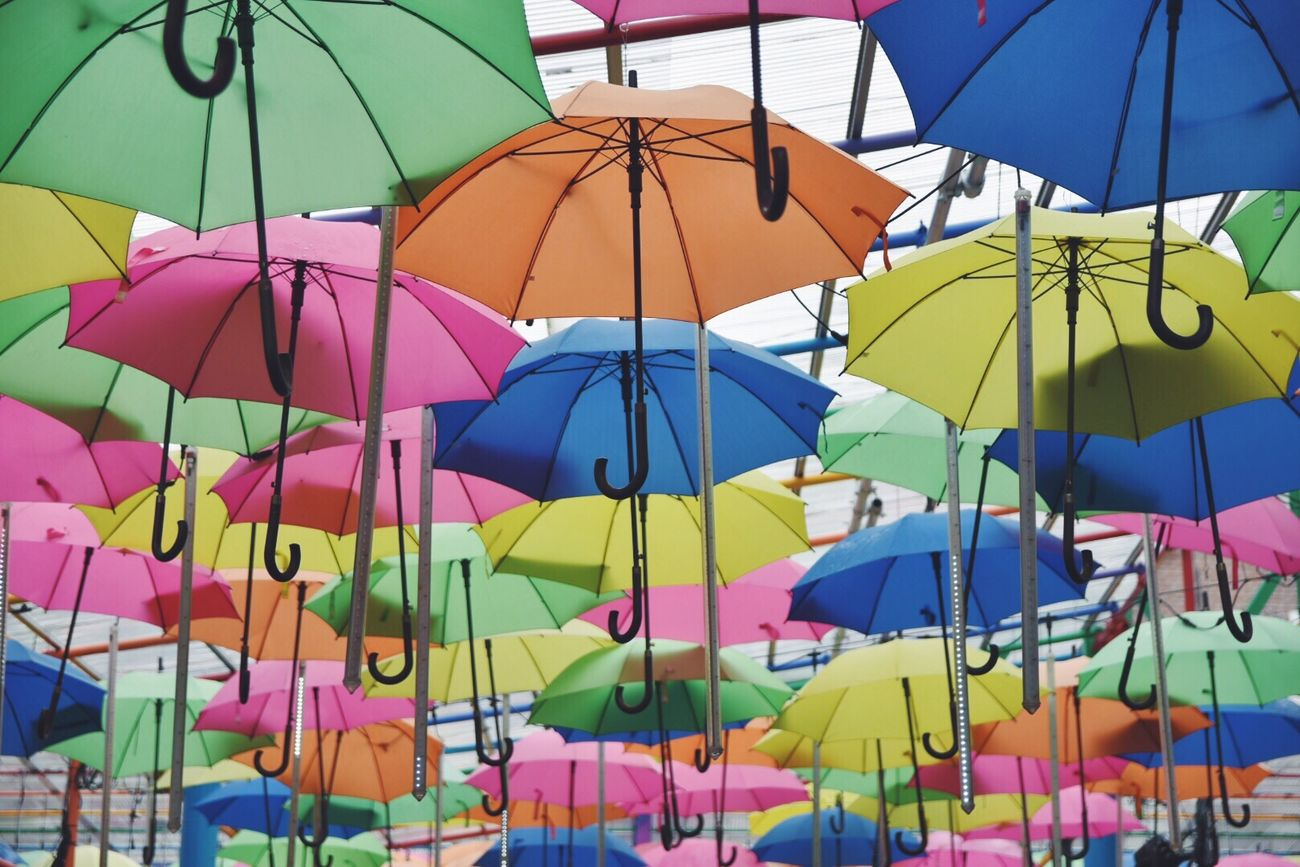 Multi Colored Colorful Variation Day No People Umbrella Rainy Days Rain Rainy Weather Sky