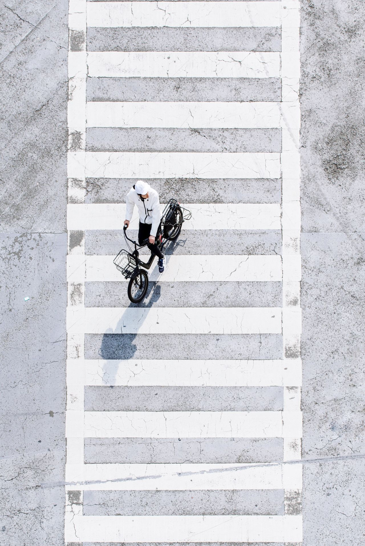 High Angle View One Man Only Only Men Bicycle Outdoors One Person Light And Shadow Minimal Minimalobsession Minimalism Minimalist Japan Cityscape City Street Street Streetphotography Tokyo