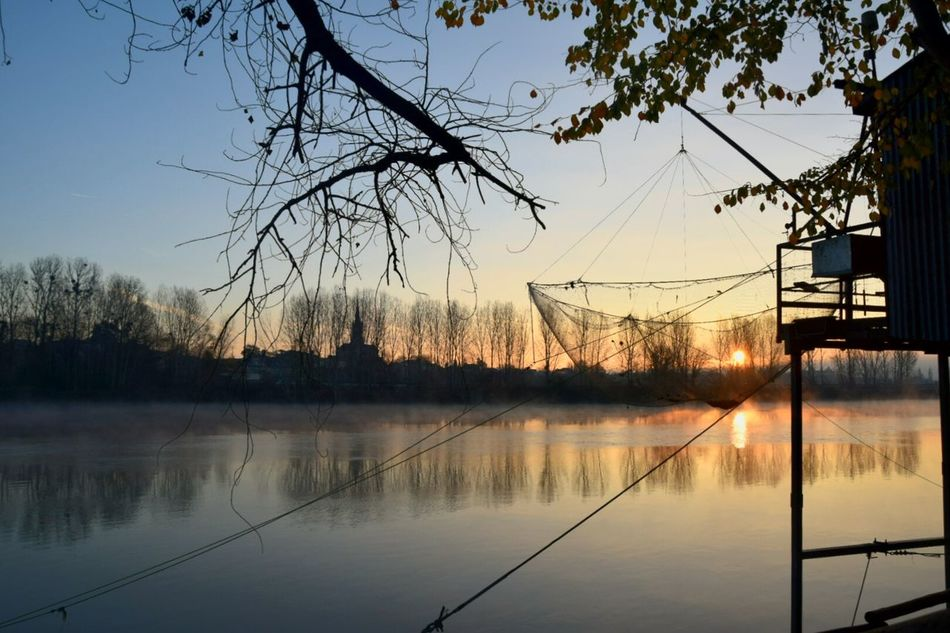 Nature Water No People Gironde Fishing Sun Sunrise Beauty In Nature Reflection Sky Beauty In Nature Outdoors Cloud - Sky Landscape Day Morning Light Countryside Peche Carrelet Garonne River Podensac Reflection
