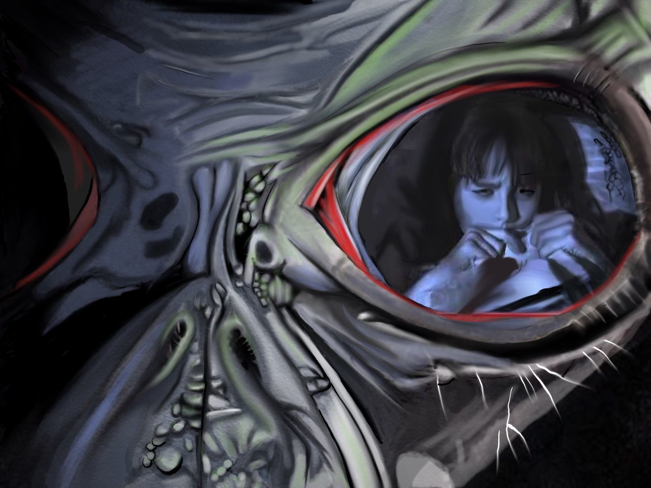 Alien Big-eyes Spooky Scared Child Creepy Watching Digital Art Drawing