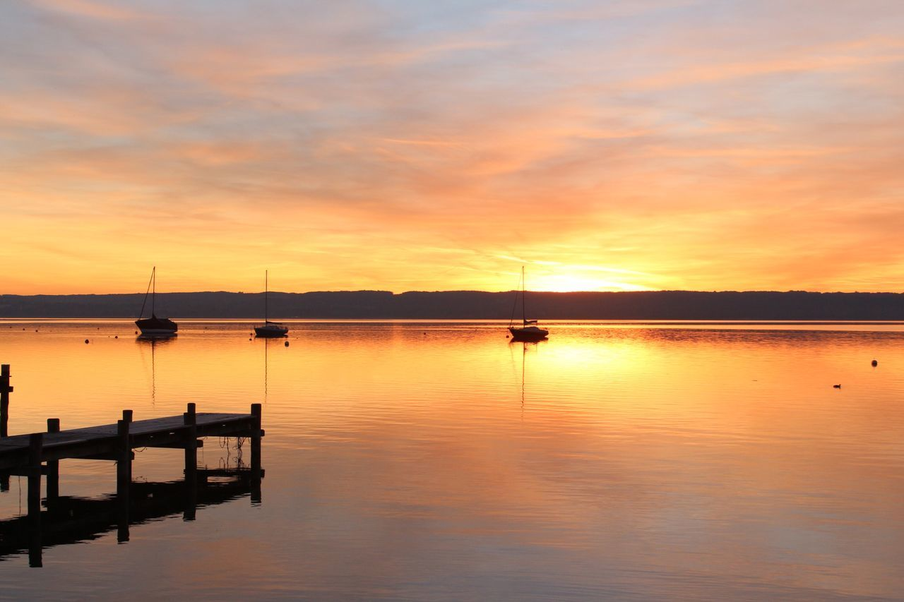 Sunset Sky Water Nautical Vessel Reflection Orange Color Scenics Nature Beauty In Nature Tranquil Scene No People Sea Tranquility Cloud - Sky Outdoors Sun Ammersee Herrsching Backgrounds Boat Bavaria Lake