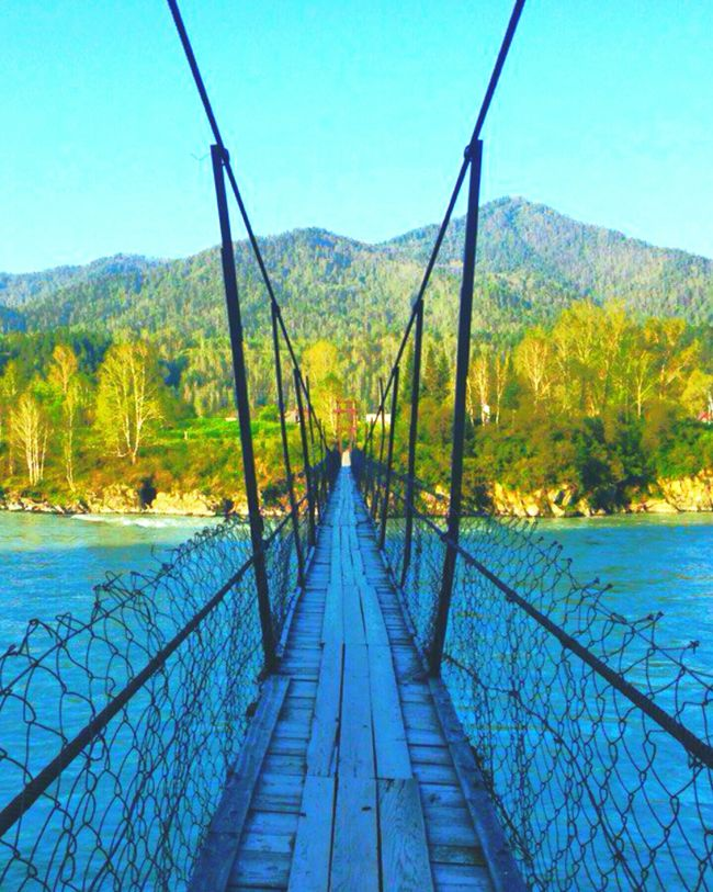 Bridge Bridge - Man Made Structure The Way Forward Scenics Nature Landscape Mountain Clear Sky Tree Water Beauty In Nature Sky Backgrounds Unusual Altai Region Altai Russia