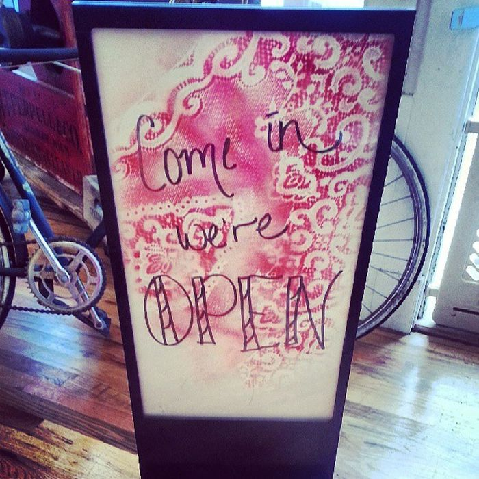 New Sign I made this morning. If you see it, you made it to hinge! Hinge Upcycle Lovelace open