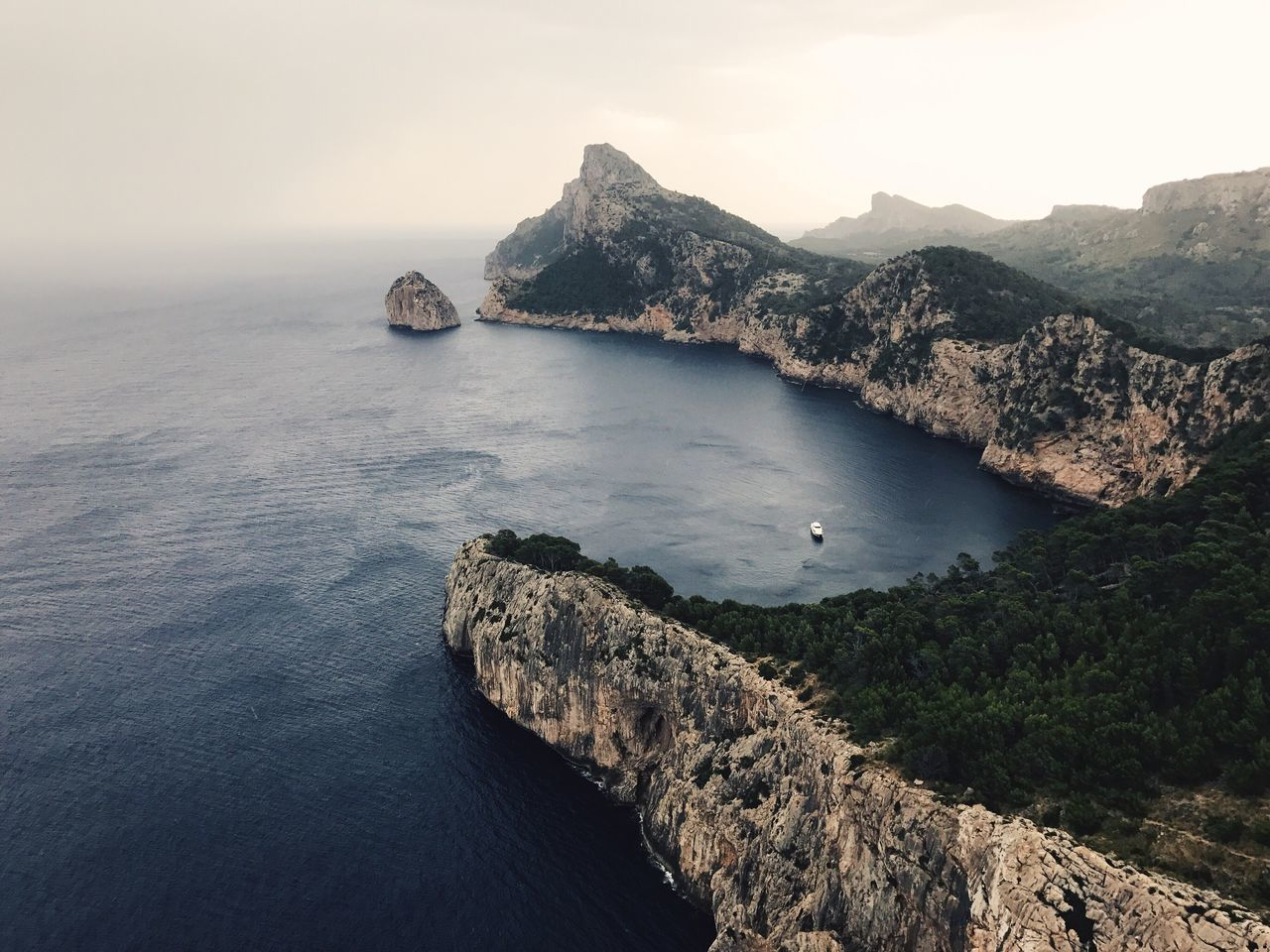 Rock - Object Water Nature Scenics Sea Beauty In Nature High Angle View Tranquility Mountain Outdoors No People Tranquil Scene Day Sky Travel Destinations Cliff Clear Sky Nautical Vessel Formentor Peninsula Backgrounds Wallpaper Mallorca Mountains Ocean View Copy Space