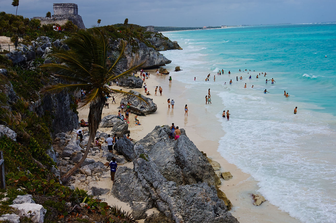 Beach Coastline Horizon Over Water Mexico Ocean Outdoors Palm Tree Rock Rock - Object Rock Formation Sand Sea Shore Summer Tourist Travel Tropical Climate Tulum Tulum , Rivera Maya. Vacation Vacations Water Weekend Activities Welcome Weekly