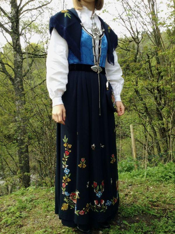 The Norwegian national costume the bunad, model Rogalandsbunad. Norway National Costume Colors Bunad