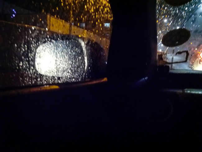 Bokeheffect Bokeh Lights Bokeh Photography Bokesh Street Light Signal Lamp Rain Drops Rainy Days Raining Day Car Ride  Car Interior Driving In My Car Driving Home Mein Automoment Air Condition Cool Climate Happy Journey ..!! Mirror Shot Car Mirror View