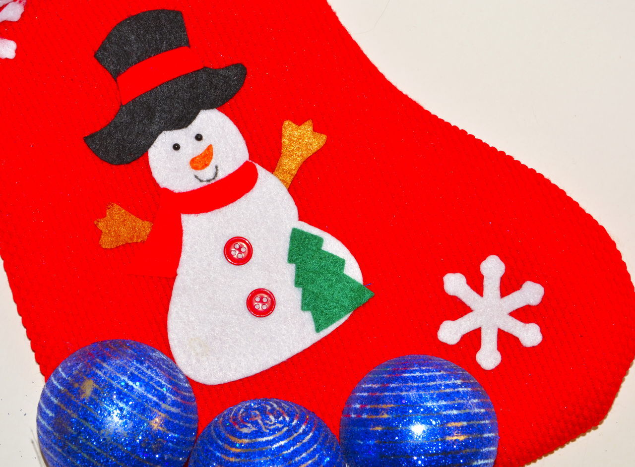 Close-Up Of Christmas Red Sock With Snowman