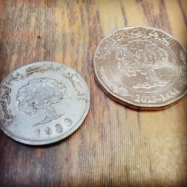 Coins Monnais Tunisie Tunisia نقش العملة المعدنية الجديدة ذاته الموجود على الدورو،
