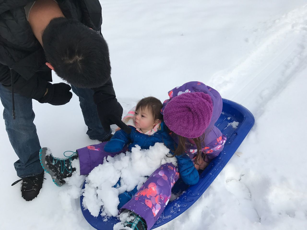Snow Sports sledding for the first time Winter Outdoors Snow Day Snow ❄