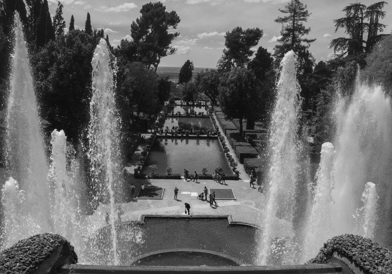 Villa d'Este Day Fountain Long Exposure Motion Nature No People Outdoors Sky Splashing Spraying Tree Water Water Park