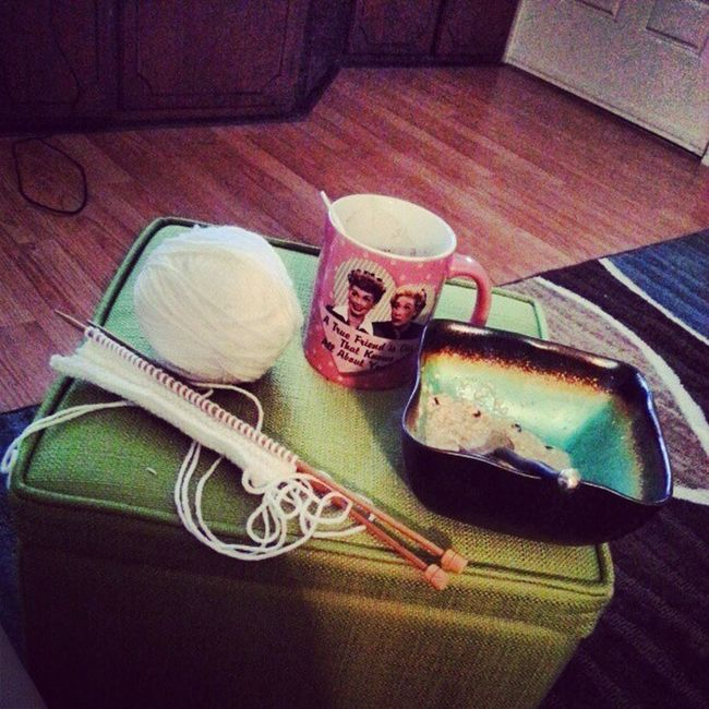 Hot cocoa in my favorite mug, knitting and oatmeal. Mymorning Knitting Blueberryoatmeal HotCoca ilovelucy
