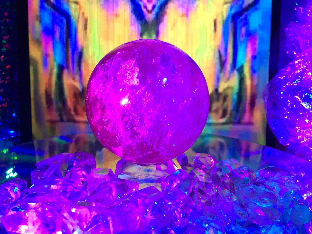 Multi Colored Close-up Crystal Ball Vaporwave Neon Crystals Crystal Orb Sphere Magenta Pink Color Purple Color Purple Pink Quartz Altar New Age Future Witch Urban Psychedelic Trippy Aesthetics