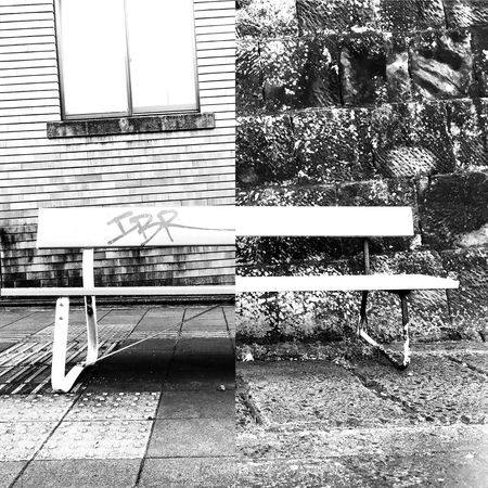 Blend... Black And White Benches Cropped City