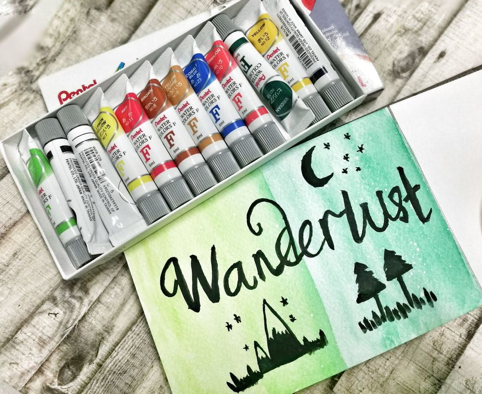 My second piece. Practice ongoing on my brush lettering, so awkward. Huaweiphotography HuaweiP9 Watercolor Pentel Brushlettering Wanderlusting✈💯 Nature On Your Doorstep Naturelovers