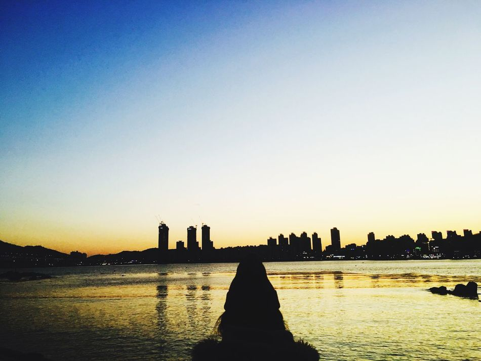 Korea Gwanganli Backside Sunset Sea And Sky People