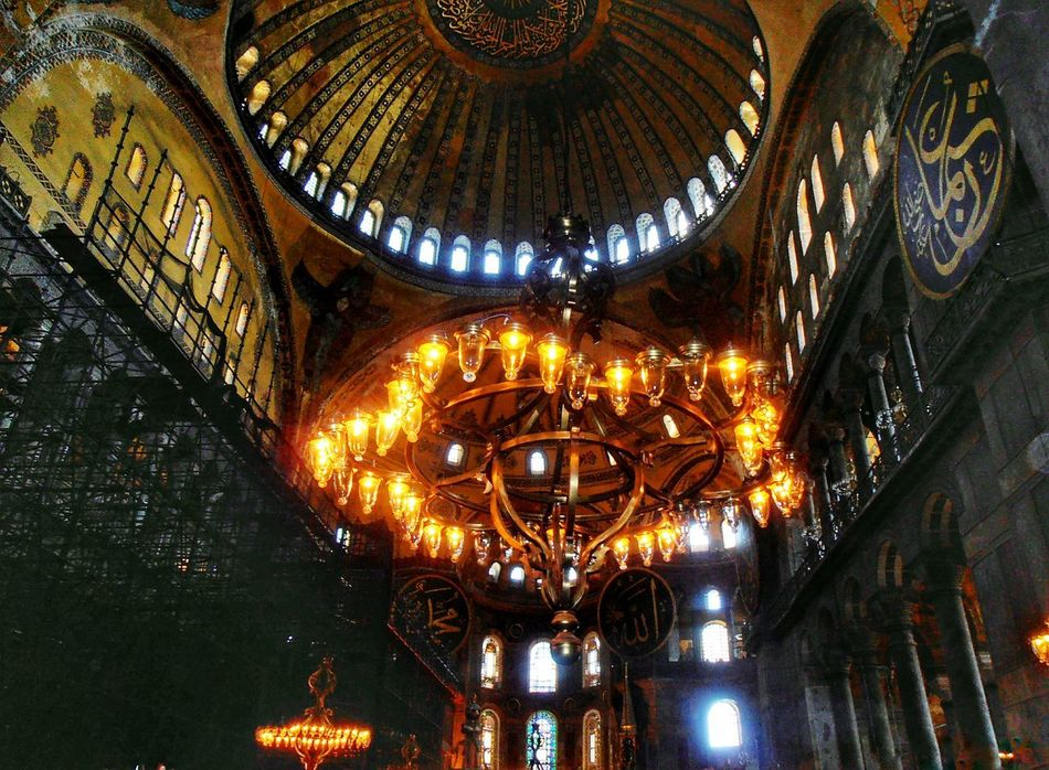 Indoors  No People Low Angle View Architecture Place Of Worship Day Gold Light Region Ayasofya Hagiasophia  Constantinapolis Istanbul Mosque Camii Building Build Architecture Travel Destinations Church Churches Church Tower Religion Religions
