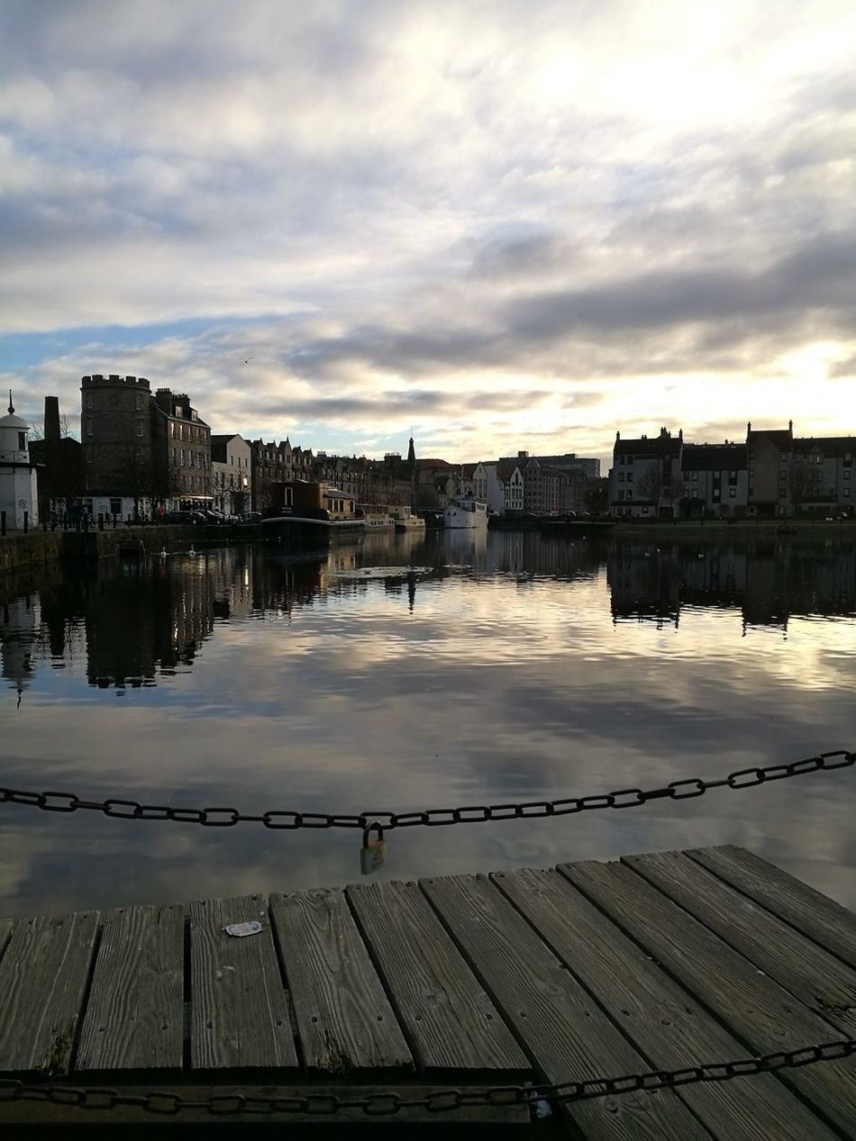 The view at The Shore in Leith. Edinburgh. Scotland. First Eyeem Photo My Year My View Sky Water Sun Beauty Sunlight Day Outdoors Scotland Edinburgh Dramatic Sky No People Reflection Huawei P9 Leica