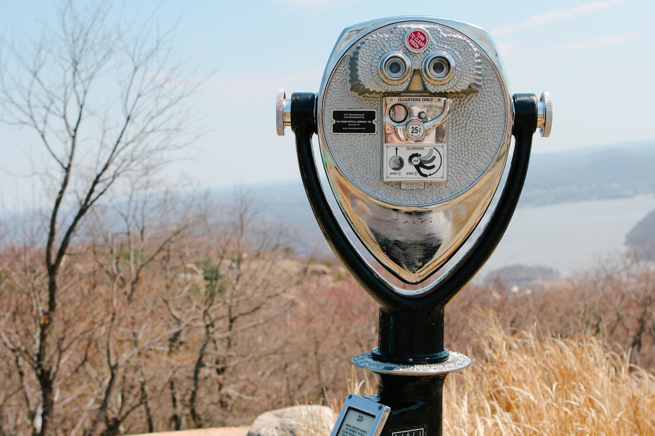 Coin-operated Binoculars Surveillance Metal Close-up Day No People Focus On Foreground Field Outdoors Sky Technology Nature Beauty In Nature Tree Bearmountain