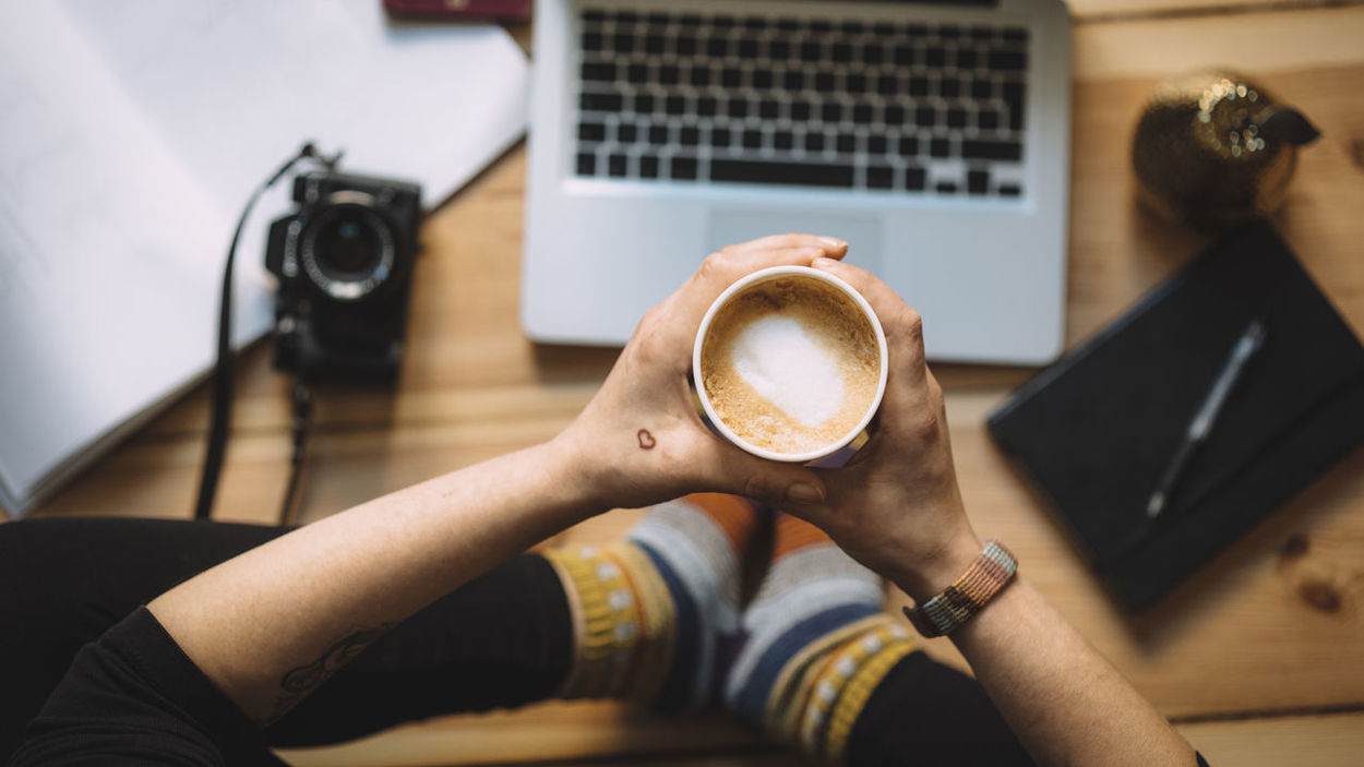 Productivity Berlinstagram Camera Cappuccino Coffee - Drink Coffee Cup Cup Heart Holding Human Hand Indoors  Laptop One Person Productivity Real People Tattoo Technology Top View View From Above Woman Working Fresh On Market 2017 Market Bestsellers 2017