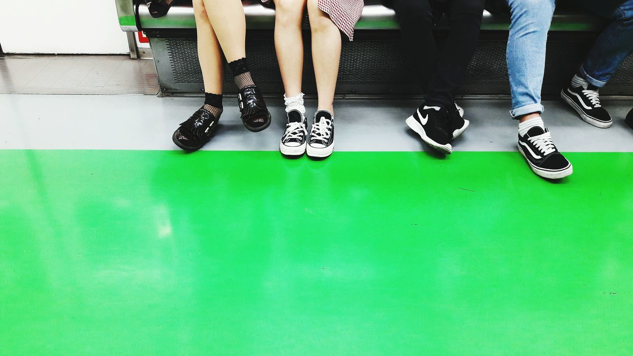 Low Section Human Body Part Human Leg Low Body Part Friends Subway Subway People Subway Stories Subway Scene Seoul Subway Seoul South Korea Contrasts Shoes Young Adult Youth Of Today Transportation Life In Colors Life Moments People Photography See The World Through My Eyes People Sitting Green Color EyeEm Best Shots Still Life Out Of The Box Neon Life