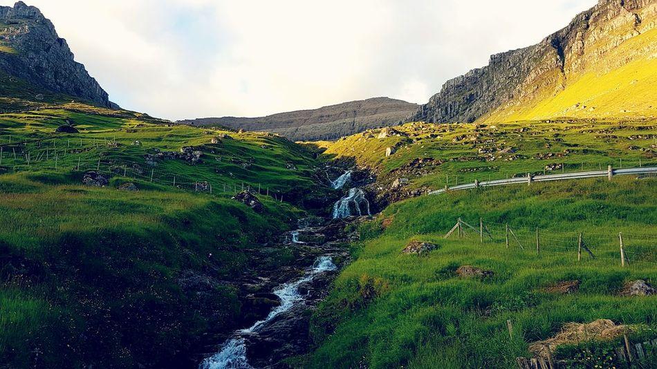 Adventure Club Kunoy Waterfall Faroe Islands Nature Photography Nature Mountains Water Idyllic Idyllic Scenery Perfect Day Samsung Galaxy S7